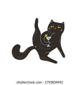 The black cat drinks a martini with its paw raised. Cute vector illustration. A bright, fun print with a cute funny cat is a great print for a T-shirt, hoodie and so on.