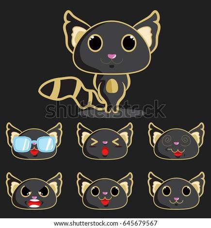 Black Cat Emoji Faces Stock Vector Royalty Free 645679567