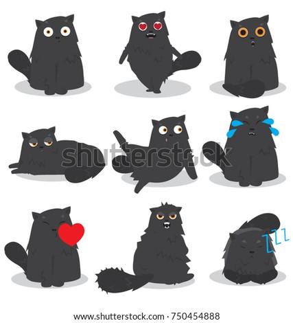 Black Cat Emoji Set Stock Vector Royalty Free 750454888 Shutterstock