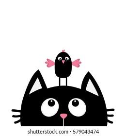 Black cat face head silhouette looking up to funny bird. Cute cartoon character. Kawaii animal. Baby card.