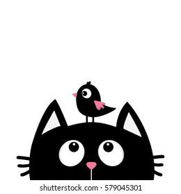 Black cat face head silhouette looking up to bird. Cute cartoon character. Kawaii animal. Baby card.