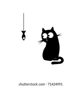 Black cat and fish. Vector illustration