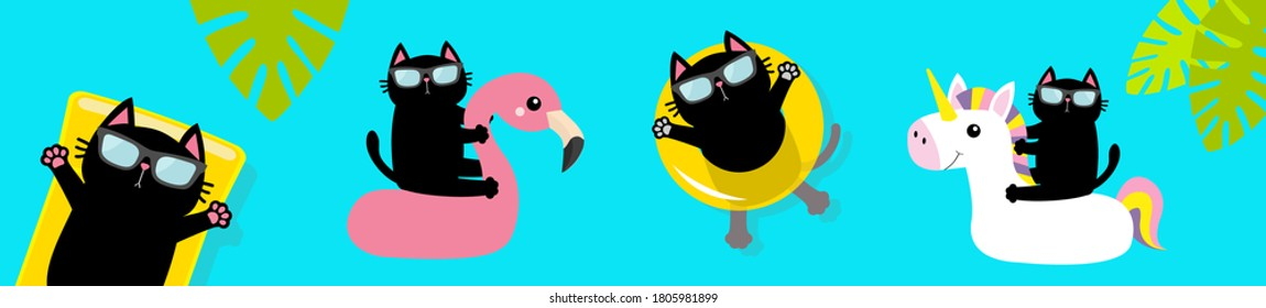 Black cat floating on white flamingo unicorn pool float water circle, mattress. Swimming pool. Hello Summer. Cute cartoon character. Top air view banner. Sunglasses. Palm tree leaf. Flat design Vector