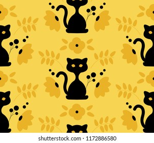 Black cat with florals on yellow background. Seamless pattern vector