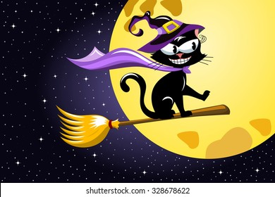 Black Cat flying on a broom against starry sky at halloween night