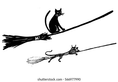 Black cat flying on a broomstick - vector illustration isolated on white