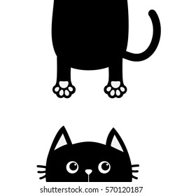 Black cat Funny face head silhouette looking up. Hanging fat body with paw print, tail. Cute cartoon character. Kawaii animal. Baby pet card. Flat design. White background Isolated Vector illustration