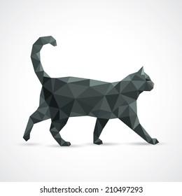 Black cat from geometric elements - vector illustration