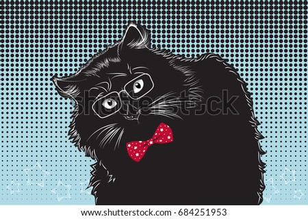 bc275ecd0bc6 Black Cat Glasses Bow Tie On Stock Vector (Royalty Free) 684251953 ...