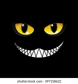 Black Cat in black. Glow eyes - Vector Image