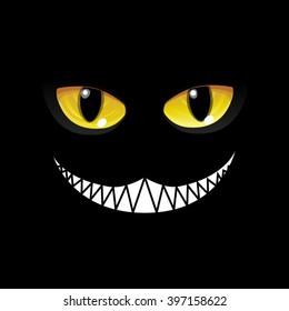 Black Cat in black. Glow eyes - Vector Image