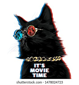 Black cat with golden chain in 3D glasses watching a film. It's movie time typography slogan, cinema banner concept. Vector illustration.