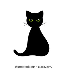 Black cat with green eyes isolated on white. Vector illustration