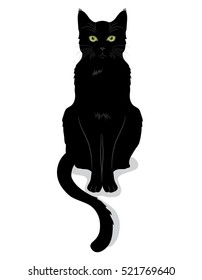 Black cat with green eyes, isolated on white, vector illustration