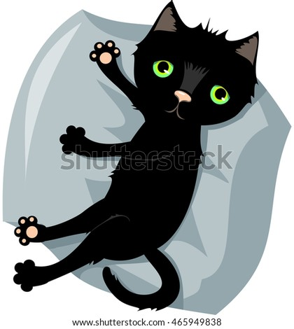 Black cat with green eyes lies on blue pillow. Vector.