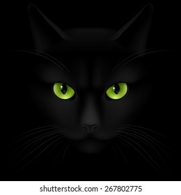 Black cat with green eyes looking out of the darkness