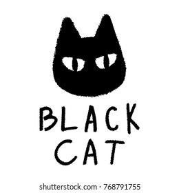 Black cat grunge style vector illustration