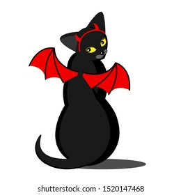 Black cat for Halloween. Devil cat with red horns, yellow eyes and red wings. Halloween costume. Suitable for decorating parties, shops, pet stores, cafes, children s events. White background