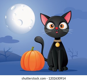 Black Cat with Halloween Pumpkin Vector Cartoon. Cute pussycat standing in full moonlight outdoors