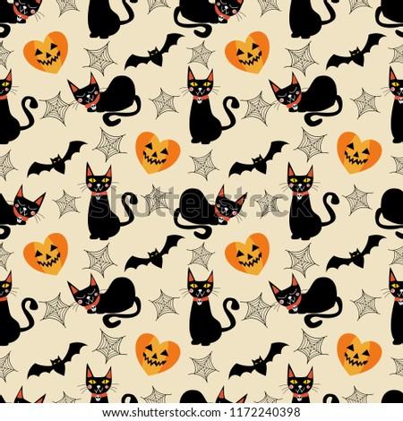 Black Cat Halloween Symbols Seamless Pattern Stock Vector Royalty
