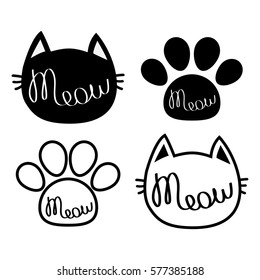 Black cat head. Meow lettering contour text. Paw print. Cute cartoon character silhouette icon set. Kawaii animal. Baby pet collection. Sign Symbol. Flat design style White background Isolated. Vector