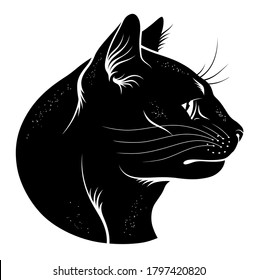 Black cat head profile. Vectorized ink illustration.