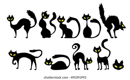 black cat icon element set for Halloween. vector illustration