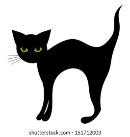 Black cat isolated. Halloween vector illustration
