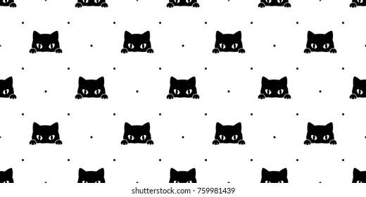 Black cat kitten Polka dot Seamless Pattern background wallpaper