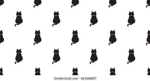 Black cat kitten Cat tail full seamless pattern / wallpaper / background