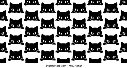 Black cat kitten vector Seamless Pattern wallpaper background doodle cartoon