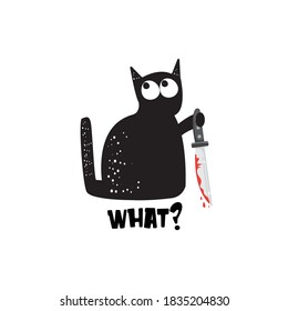 Black cat and knife isolated on white background. Funny Halloween black cat holding a bloody knife. Halloween concept illustration