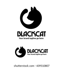 Black Cat Logo with Cat Head and Tail