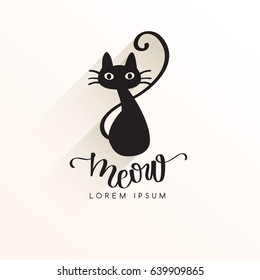 Black Cat Logo Template : Vector  Illustration