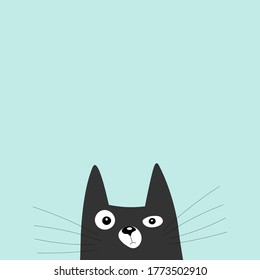 Black cat looking curiously. Funny face head silhouette. Card or poster design ready for print.
