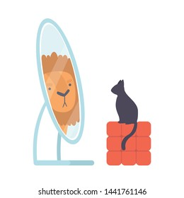 Black Cat Looking at Mirror Pretend to Be Lion Vector Illustration