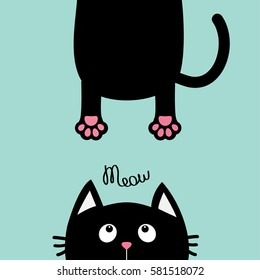 Black cat looking up. Funny face head silhouette. Meow text. Hanging fat body paw print, tail. Kawaii animal. Baby card. Cute cartoon character. Pet collection. Flat. Blue background. Isolated. Vector