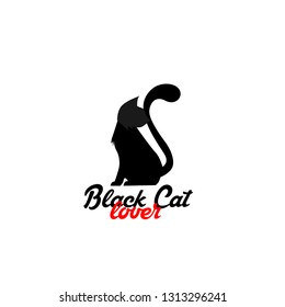 black cat lover logo for pet shop sign or author company