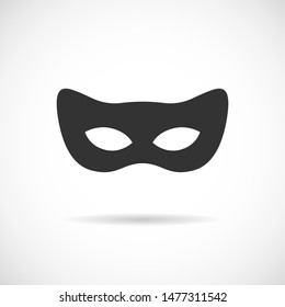 Black cat mask vector icon. Simple  silhouette isolated on white background