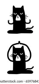 Black cat was meditation style Zen