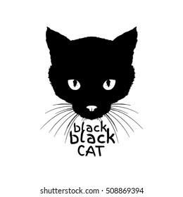 black black cat, monochrome silkscreen print, animal print