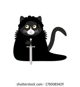 Сute black cat - night watchman in a black cloak with a sword in his paws. Doodle flat illustration vector