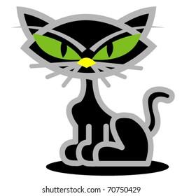 Black cat on Halloween clip art in vector format.