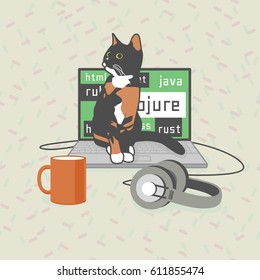 Black cat with orange and white spots sitting on a keyboard of a laptop. Headphones and a mug next to it. Vector illustration.