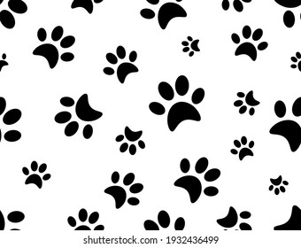 Black cat paw prints seamless pattern on white background. Vector repeat seamless pattern of animals foot prints. Silhouette cat paw prints texture .Black and white pattern. Textile and fabric prints.