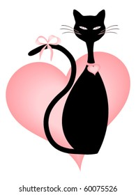 Black Cat and Pink Hearts