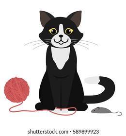 Black cat playing. Cartoon character. Domestic animal. Flat vector stock illustration