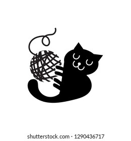 Black cat playing with yarn ball black and white cartoon vector illustration