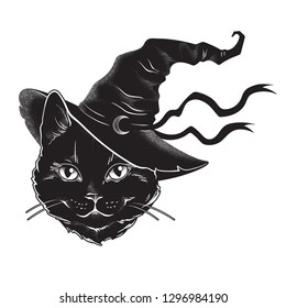 Black cat with pointy witch hat line art and dot work. Wiccan familiar spirit, halloween or pagan witchcraft theme tapestry print design vector illustration