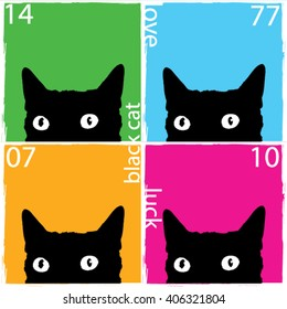 black cat pop art illustration print